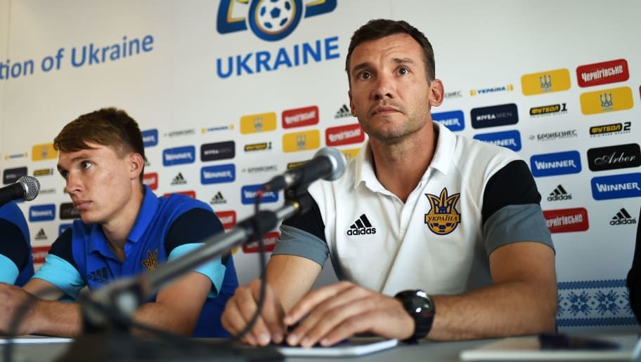 Ukraine's midfielder Serhiy Sydorchuk and Ukraine's coach Ukraine's assistant coach Andriy Shevchenko hold a press conference in Aix-en-Provence, southeastern France, on June 13, 2016, during the Euro 2016 football tournament. / AFP / ANNE-CHRISTINE POUJOULAT        (Photo credit should read ANNE-CHRISTINE POUJOULAT/AFP/Getty Images)