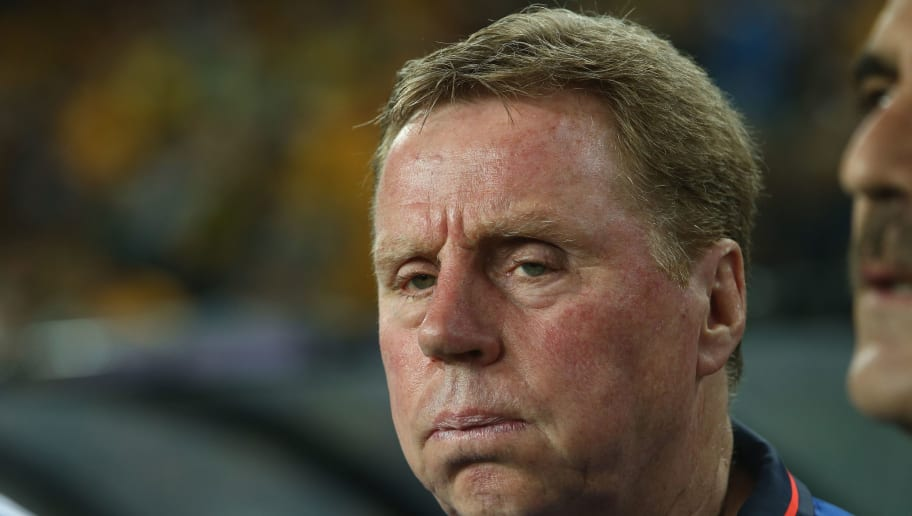 SYDNEY, AUSTRALIA - MARCH 29:  Jordan head coach Harry Redknapp watches on during the national anthems ahead of the 2018 FIFA World Cup Qualification match between the Australian Socceroos and Jordan at Allianz Stadium on March 29, 2016 in Sydney, Australia.  (Photo by Mark Kolbe/Getty Images)