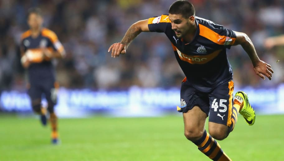 LONDON, ENGLAND - SEPTEMBER 13:  Aleksandar Mitrovic of Newcastle United in action during the Sky Bet Championship match between Queens Park Rangers and Newcastle United at Loftus Road on September 13, 2016 in London, England.  (Photo by Warren Little/Getty Images)