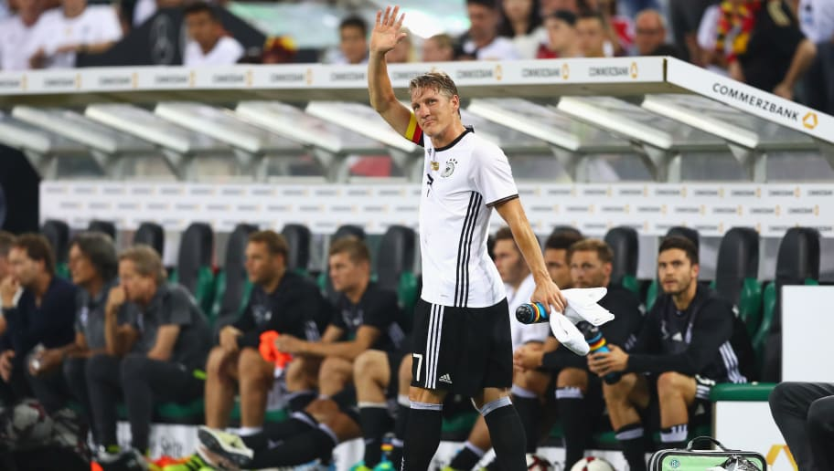 MOENCHENGLADBACH, GERMANY - AUGUST 31:  Bastian Schweinsteiger of Germany acknowledges the crowd after being substituted during the International Friendly match between Germany and Finland at Borussia-Park on August 31, 2016 in Moenchengladbach, Germany.  (Photo by Lars Baron/Bongarts/Getty Images)