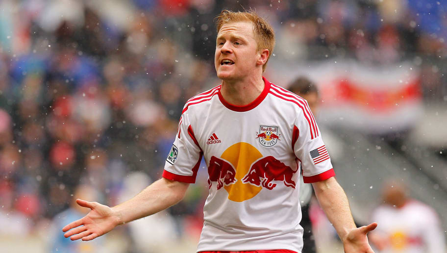HARRISON, NJ - MARCH 16:  Dax McCarty #11 of New York Red Bulls reacts during the game against the D.C. United at Red Bull Arena on March 16, 2013 in Harrison, New Jersey.  (Photo by Mike Stobe/Getty Images)