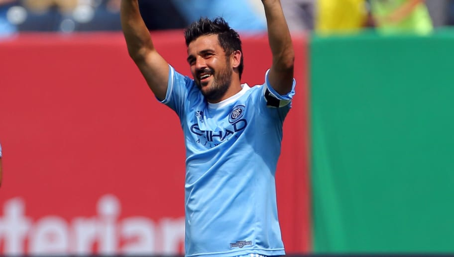 NEW YORK, NY - JULY 12: David Villa #7 of New York City FC celebrates after scoring a goal against the Toronto FC during a soccer game at Yankee Stadium on July 12, 2015 in the Bronx borough of New York City. (Photo by Adam Hunger/Getty Images)