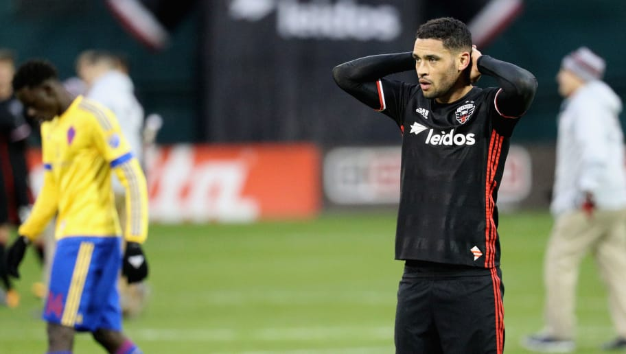 WASHINGTON, DC - MARCH 20: Lamar Neagle #13 of D.C. United reacts after playing Colorado Rapids to a 1-1 tie at RFK Stadium on March 20, 2016 in Washington, DC.  (Photo by Rob Carr/Getty Images)