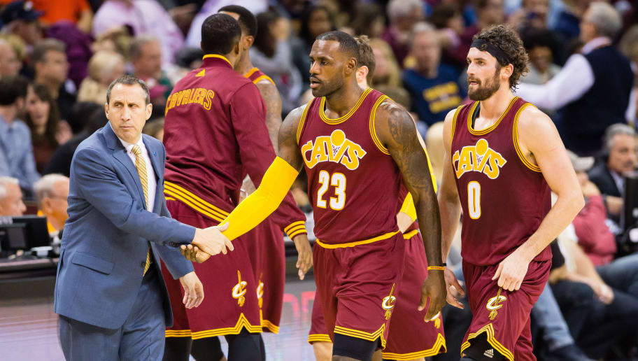 CLEVELAND, OH - OCTOBER 30: Head coach David Blatt celebrates with LeBron James #23 and Kevin Love #0 of the Cleveland Cavaliers during the first half against the Miami Heat at Quicken Loans Arena on October 30, 2015 in Cleveland, Ohio. NOTE TO USER: User expressly acknowledges and agrees that, by downloading and or using this photograph, User is consenting to the terms and conditions of the Getty Images License Agreement. (Photo by Jason Miller/Getty Images)