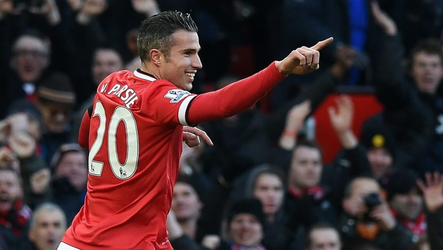 Manchester United's Dutch striker Robin van Persie celebrates scoring the opening goal during the English Premier League football match between Manchester United and Leicester City at Old Trafford in Manchester, northwest England, on January 31, 2015.  AFP PHOTO / PAUL ELLIS  RESTRICTED TO EDITORIAL USE. No use with unauthorized audio, video, data, fixture lists, club/league logos or live services. Online in-match use limited to 45 images, no video emulation. No use in betting, games or single club/league/player publications        (Photo credit should read PAUL ELLIS/AFP/Getty Images)