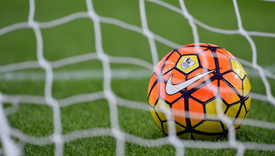 The Premier League and Nike logos are seen on a football behind the net of a