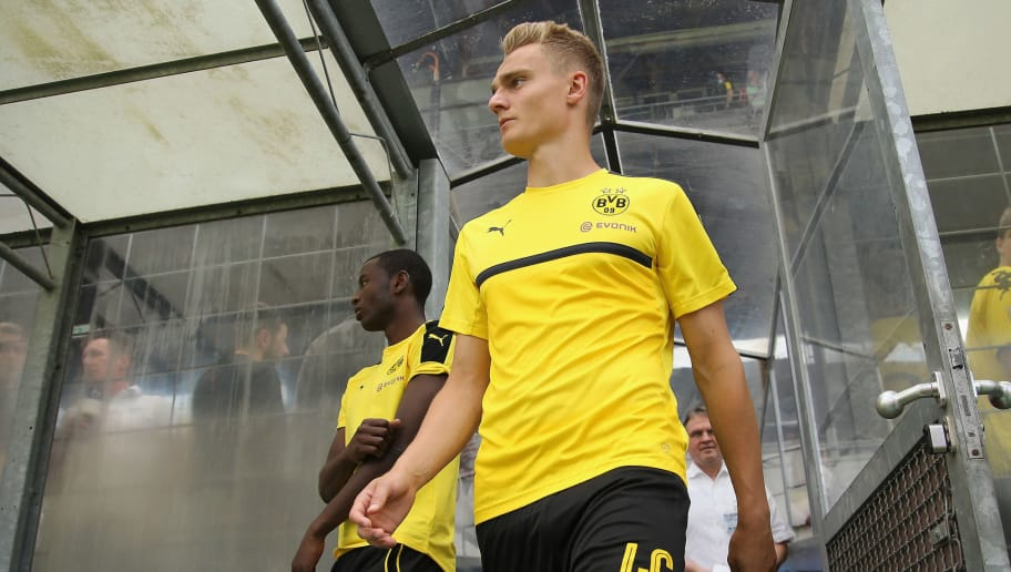 MUNICH, GERMANY - JULY 16:  Amos Pieper of Dortmund arrives for the friendly match between TSV 1860 Muenchen and BVB Borussia Dortmund at Stadion an der Gruenwalder Strasse on July 16, 2016 in Munich, Germany  (Photo by Johannes Simon/Bongarts/Getty Images)