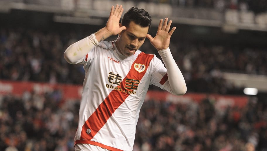 MADRID, SPAIN - APRIL 01:  Nicolas Ladislao 'Miku' of Rayo Vallecano de Madrid celebrates after scoring his team's 2nd goal after having a goal disallowed earlier during the La Liga match between Rayo Vallecano and Getafe CF at Estadio de Vallecas on April 1, 2016 in Madrid, Spain. The goal was later disallowed for handball.  (Photo by Denis Doyle/Getty Images)