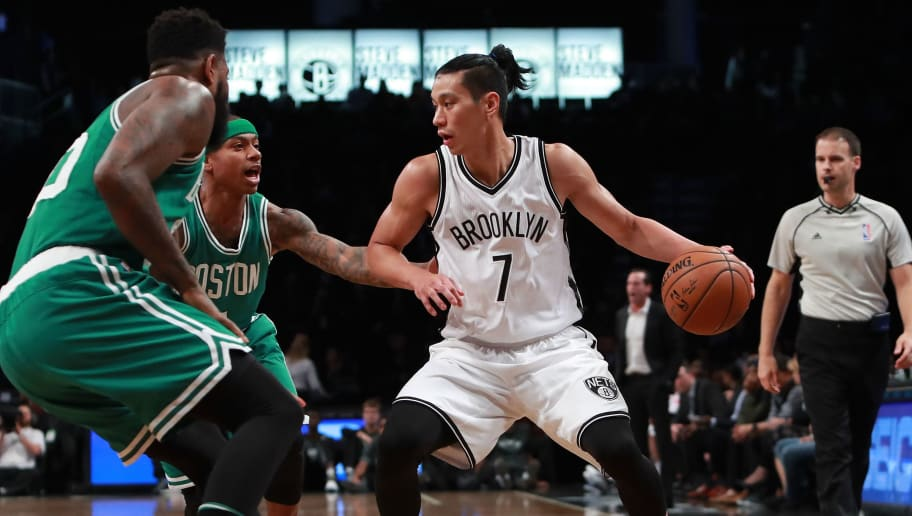 NEW YORK, NY - OCTOBER 13:  Jeremy Lin #7 of the Brooklyn Nets in action against the Boston Celtics during the first half of the preseason game at Barclays Center on October 13, 2016 in New York City. NOTE TO USER: User expressly acknowledges and agrees that, by downloading and or using this photograph, User is consenting to the terms and conditions of the Getty Images License Agreement.  (Photo by Michael Reaves/Getty Images)
