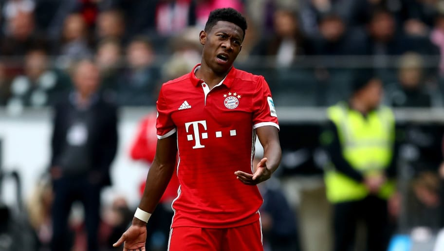 FRANKFURT AM MAIN, GERMANY - OCTOBER 15:  David Alaba of Bayern Muenchen reacts during the Bundesliga match between Eintracht Frankfurt and Bayern Muenchen at Commerzbank-Arena on October 15, 2016 in Frankfurt am Main, Germany.  (Photo by Lars Baron/Bongarts/Getty Images)