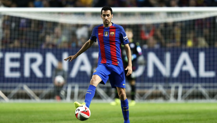 SOLNA, SWEDEN - AUGUST 03: Sergio Busquets of FC Barcelona during the International Champions Cup match between Leicester City FC and FC Barcelona at Friends arena on August 3, 2016 in Solna, Sweden. (Photo by Nils Petter Nilsson/Ombrello/Getty Images)