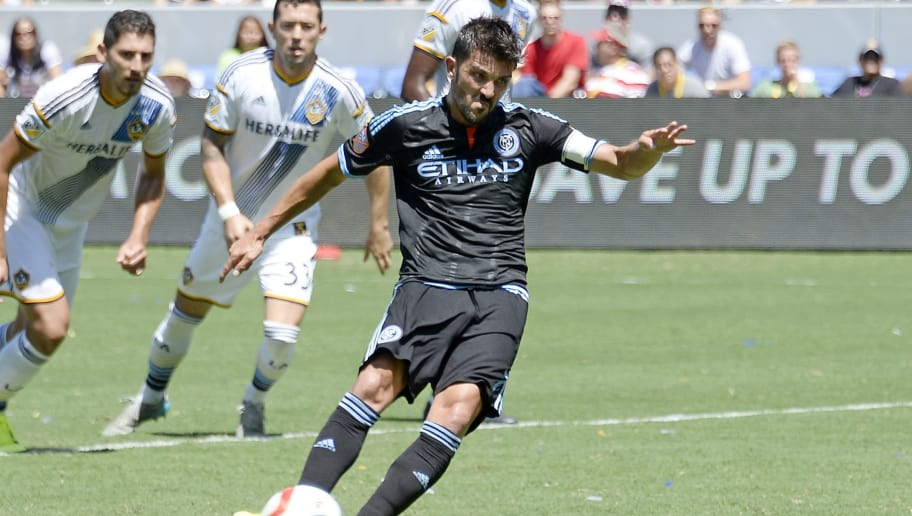 CARSON, CA - AUGUST 23:  David Villa #7 of New York City FC scores on a penalty kick against Los Angeles Galaxy during the second half at StubHub Center August 23, 2015, in Carson, California. (Photo by Kevork Djansezian/Getty Images)