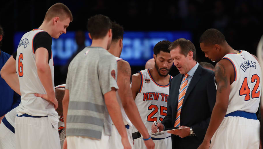 NEW YORK, NY - OCTOBER 29:  Jeff Hornacek of the New York Knicks draws up a play in a timeout huddle during the second half at Madison Square Garden on October 29, 2016 in New York City. NOTE TO USER: User expressly acknowledges and agrees that, by downloading and or using this photograph, User is consenting to the terms and conditions of the Getty Images License Agreement.  (Photo by Michael Reaves/Getty Images)