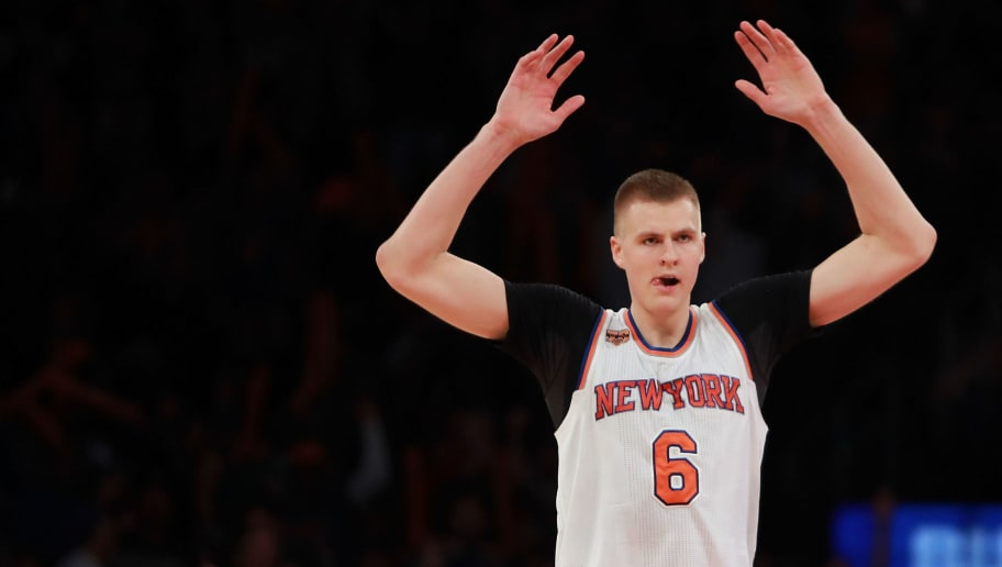 NEW YORK, NY - OCTOBER 29:  Kristaps Porzingis #6 of the New York Knicks reacts after hitting a three pointer against the Memphis Grizzlies during the second half at Madison Square Garden on October 29, 2016 in New York City. NOTE TO USER: User expressly acknowledges and agrees that, by downloading and or using this photograph, User is consenting to the terms and conditions of the Getty Images License Agreement.  (Photo by Michael Reaves/Getty Images)