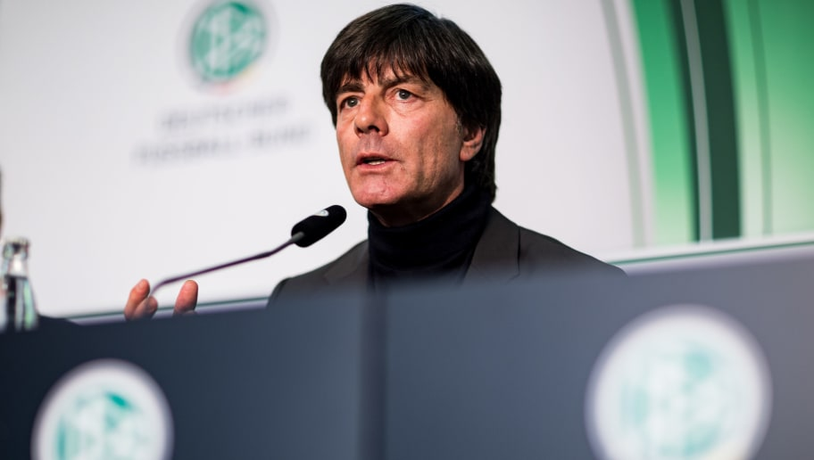 FRANKFURT AM MAIN, GERMANY - OCTOBER 31:  Joachim Loew, head coach of the German National Football team, looks on during a DFB Press Conference at DFB Headquarters on October 31, 2016 in Frankfurt am Main, Germany.  (Photo by Simon Hofmann/Bongarts/Getty Images)