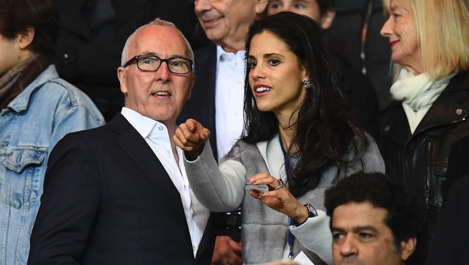 Olympique de Marseille's owner Frank McCourt (L) and his wife Monica react during the French L1 football match between Paris Saint-Germain (PSG) and Olympique de Marseille (OM) at the Parc de Princes stadium, western Paris, on October 23, 2016.  / AFP / FRANCK FIFE        (Photo credit should read FRANCK FIFE/AFP/Getty Images)