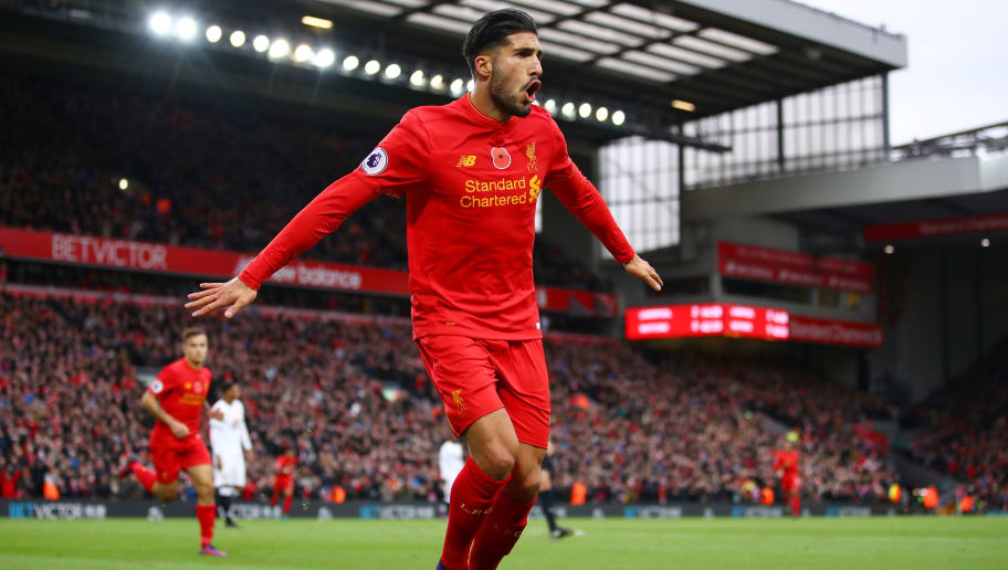 LIVERPOOL, ENGLAND - NOVEMBER 06:  Emre Can of Liverpool celebrates scoring his sides third goal during the Premier League match between Liverpool and Watford at Anfield on November 6, 2016 in Liverpool, England.  (Photo by Clive Brunskill/Getty Images)