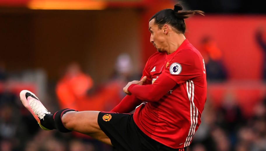 SWANSEA, WALES - NOVEMBER 06:  : Zlatan Ibrahimovic of Manchester United celebrates scoring his sides second goal during the Premier League match between Swansea City and Manchester United at Liberty Stadium on November 6, 2016 in Swansea, Wales. (Photo by Stu Forster/Getty Images)