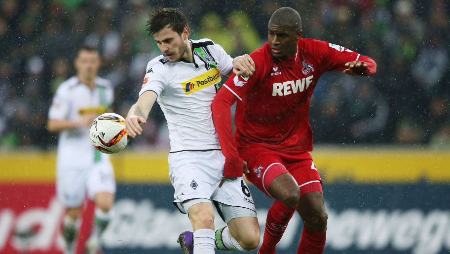 MOENCHENGLADBACH, GERMANY - FEBRUARY 20:  Havard Nordtveit of Borussia Moenchengladbach and Anthony Modeste of Koeln compete for the ball during the Bundesliga match between Borussia Moenchengladbach and 1. FC Koeln at Borussia-Park on February 20, 2016 in Moenchengladbach, Germany.  (Photo by Lars Baron/Bongarts/Getty Images)