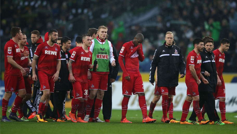 MOENCHENGLADBACH, GERMANY - FEBRUARY 20:  Koeln players show their frustration after their 0-1 defeat in the Bundesliga match between Borussia Moenchengladbach and 1. FC Koeln at Borussia-Park on February 20, 2016 in Moenchengladbach, Germany.  (Photo by Lars Baron/Bongarts/Getty Images)