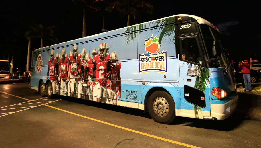 MIAMI GARDENS, FL - JANUARY 03: An Ohio State Buckeyes bus drives up to the stadium prior to the Discover Orange Bowl against the Clemson Tigers at Sun Life Stadium on January 3, 2014 in Miami Gardens, Florida.  (Photo by Chris Trotman/Getty Images)