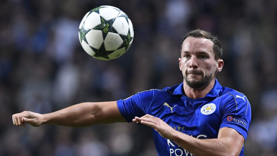 Leicester City's English midfielder Danny Drinkwater runs after the ball during the UEFA Champions League group G football match between FC Copenhagen and Leicester City FC at the Telia Parken stadium in Copenhagen on November 2, 2016.  / AFP / JONATHAN NACKSTRAND        (Photo credit should read JONATHAN NACKSTRAND/AFP/Getty Images)