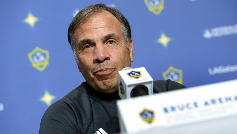 CARSON, CA - FEBRUARY 5: Bruce Arena coach Los Angeles Galaxy speaks during introduction of new Galaxy players Jelle Van Damme and Ashley Cole during a news conference at StubHub Center February 5, 2016, in Carson, California. (Photo by Kevork Djansezian/Getty Images)