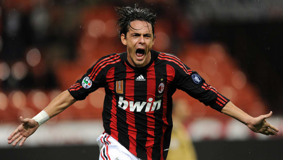 AC Milan's forward Filippo Inzaghi celebrates after scoring a goal  during their 'Serie A'  football match AC Milan vs Siena Milan at San Siro Stadium  in Milan on  October 29, 2008. AFP PHOTO / GIUSEPPE CACACE (Photo credit should read GIUSEPPE CACACE/AFP/Getty Images)