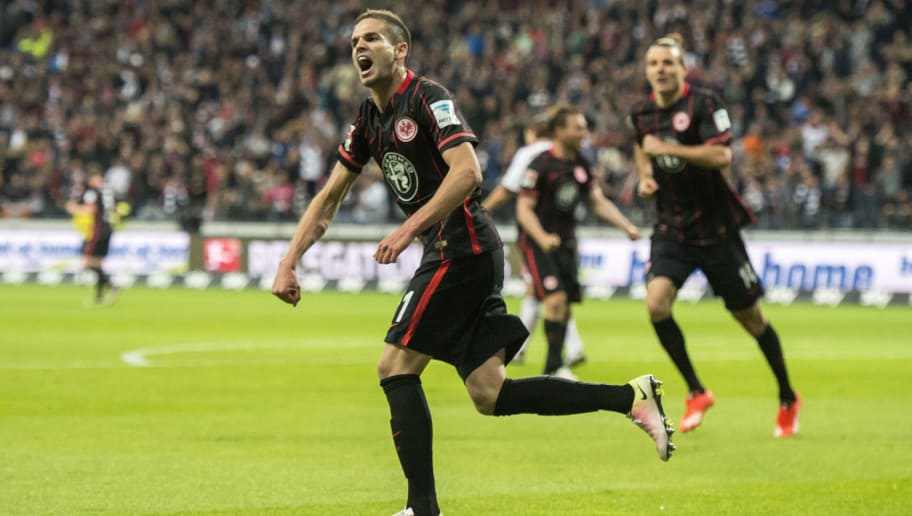 FRANKFURT AM MAIN, GERMANY - MAY 19: Mijat Gacinovic of Eintracht Frankfurt celebrates the first goal for his team during the bundesliga playoff between Eintracht Frankfurt and 1. FC Nuernberg at Commerzbank-Arena on May 19, 2016 in Frankfurt am Main, Germany. (Photo by Alexander Scheuber/Bongarts/Getty Images)