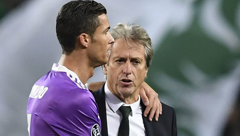 Real Madrid's Portuguese forward Cristiano Ronaldo (L) and Sporting's coach Jorge Jesus greet each other at the end of the  UEFA Champions League football match Sporting CP vs Real Madrid CF at the Jose Alvalade stadium in Lisbon on November 22, 2016. / AFP / FRANCISCO LEONG        (Photo credit should read FRANCISCO LEONG/AFP/Getty Images)