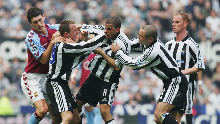 NEWCASTLE, ENGLAND - APRIL 2 :  Lee Bowyer and Kieron Dyer of Newcastle come to blows during the FA Barclays Premiership match between Newcastle United and Aston Villa at St James Park on April 2, 2005 in Newcastle, England.  (Photo by Laurence Griffiths/Getty Images)