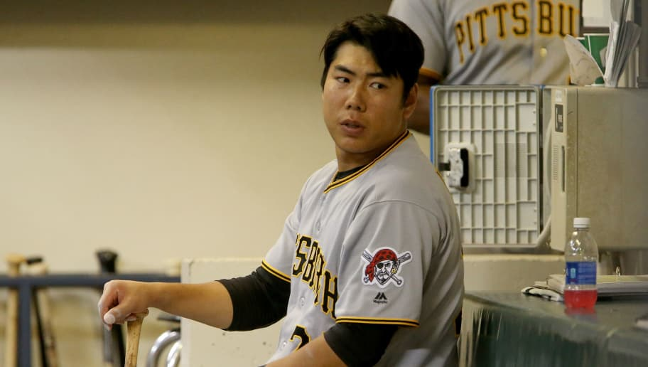 MILWAUKEE, WI - SEPTEMBER 20:  Jung Ho Kang #27 of the Pittsburgh Pirates sits in the dugout in the sixth inning against the Milwaukee Brewers at Miller Park on September 20, 2016 in Milwaukee, Wisconsin. (Photo by Dylan Buell/Getty Images)