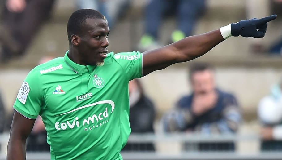 Saint-Etienne's Guinean defender Florentin Pogba celebrates after scoring a goal during the French Ligue 1 football match between Angers (SCO) and Saint Etienne (ASSE), on November 27, 2016, in Jean Bouin Stadium, in Angers, northwestern France. / AFP / JEAN-FRANCOIS MONIER        (Photo credit should read JEAN-FRANCOIS MONIER/AFP/Getty Images)