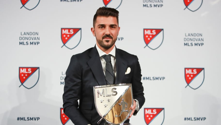 NEW YORK, NY - DECEMBER 06:  David Villa of New York City FC poses for a photo with the 2016 Landon Donovan MLS MVP trophy at Spring Studios on December 6, 2016 in New York City.  (Photo by Michael Reaves/Getty Images)