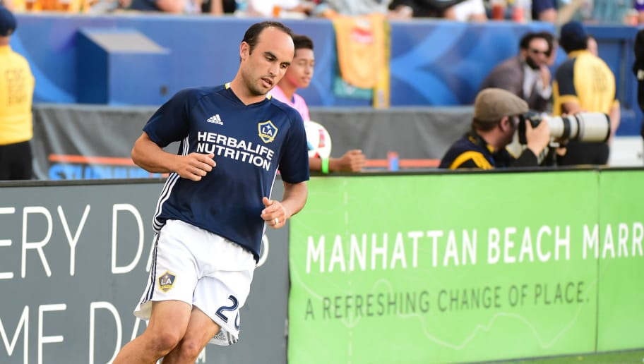 CARSON, CA - SEPTEMBER 11:  Landon Donovan #26 of the Los Angeles Galaxy warms up before entering the game in the second half against the Orlando City FC as he returns from retirement at StubHub Center on September 11, 2016 in Carson, California.  (Photo by Harry How/Getty Images)