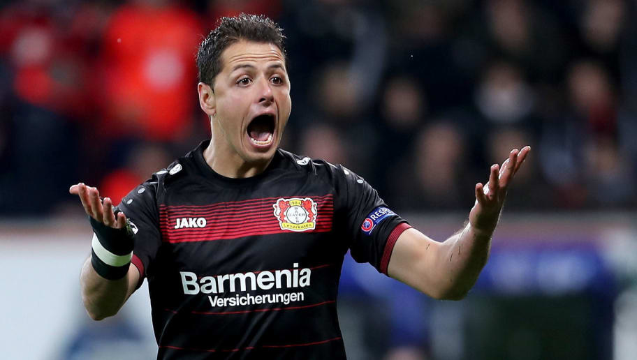 LEVERKUSEN, GERMANY - OCTOBER 18: Javier Hernandez of Leverkusen reacts after he fails to score during the UEFA Champions League group E match between Bayer 04 Leverkusen and Tottenham Hotspur FC at BayArena on October 18, 2016 in Leverkusen, North Rhine-Westphalia.  (Photo by Simon Hofmann/Bongarts/Getty Images)