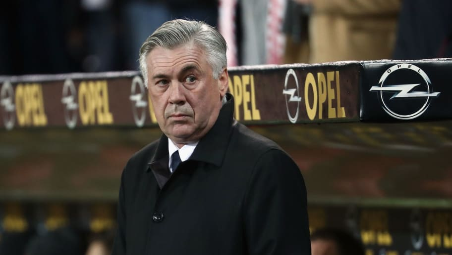 MAINZ, GERMANY - DECEMBER 02: Head coach Carlo Ancelotti of Muenchen looks on prior to the Bundesliga match between 1. FSV Mainz 05 and Bayern Muenchen at Opel Arena on December 2, 2016 in Mainz, Germany.  (Photo by Alex Grimm/Bongarts/Getty Images)
