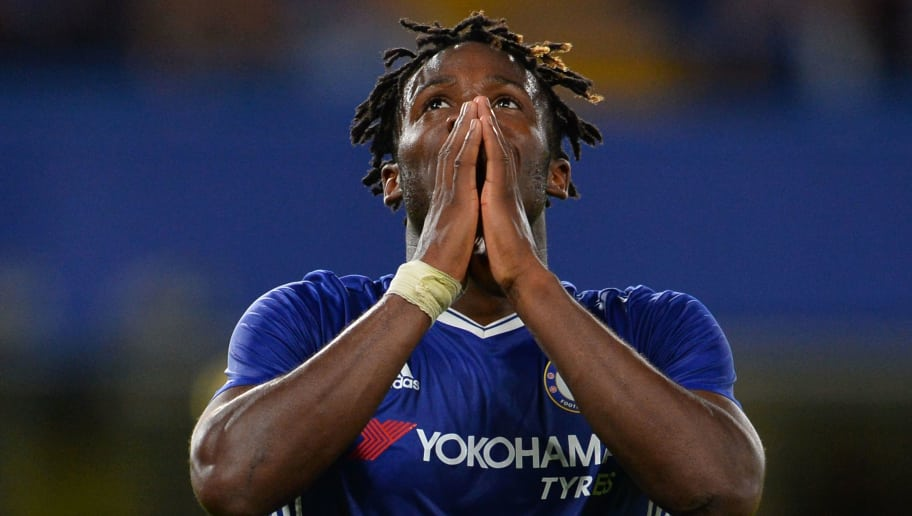 TOPSHOT - Chelsea's Belgian striker Michy Batshuayi reacts during the English League Cup second round football match between Chelsea and Bristol Rovers at Stamford Bridge in London on August 23, 2016. / AFP / GLYN KIRK / RESTRICTED TO EDITORIAL USE. No use with unauthorized audio, video, data, fixture lists, club/league logos or 'live' services. Online in-match use limited to 75 images, no video emulation. No use in betting, games or single club/league/player publications.  /         (Photo credit should read GLYN KIRK/AFP/Getty Images)