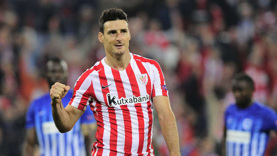 4b4d35f27b0 Athletic Bilbao's forward Aritz Aduriz celebrates after scoring his team's  fifth goal during the Europa League