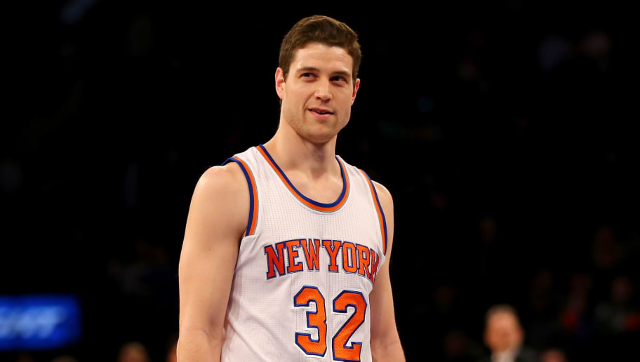NEW YORK, NY - MARCH 01:  Jimmer Fredette #32 of the New York Knicks looks on before he shoots three free throws in the final minutes of the game against the Portland Trail Blazers at Madison Square Garden on March 1, 2016 in New York City.The Portland Trail Blazers defeated the New York Knicks 104-85. NOTE TO USER: User expressly acknowledges and agrees that, by downloading and or using this photograph, User is consenting to the terms and conditions of the Getty Images License Agreement.  (Photo by Elsa/Getty Images)