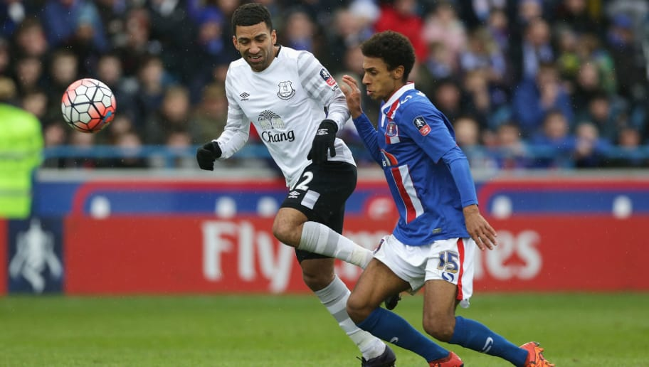 CARLISLE, ENGLAND - JANUARY 31: Brandon Comley of Carlisle United challenges Aaron Lennon of Everton during the Emirates FA Cup Fourth Round match between Carlisle United and Everton at Brunton Park on January 31, 2016 in Carlisle, England.  (Photo by Clint Hughes/Getty Images)