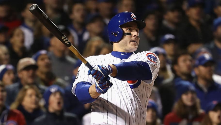 CHICAGO, IL - OCTOBER 30:  Anthony Rizzo #44 of the Chicago Cubs hits a double in the fourth inning against the Cleveland Indians in Game Five of the 2016 World Series at Wrigley Field on October 30, 2016 in Chicago, Illinois.  (Photo by Elsa/Getty Images)