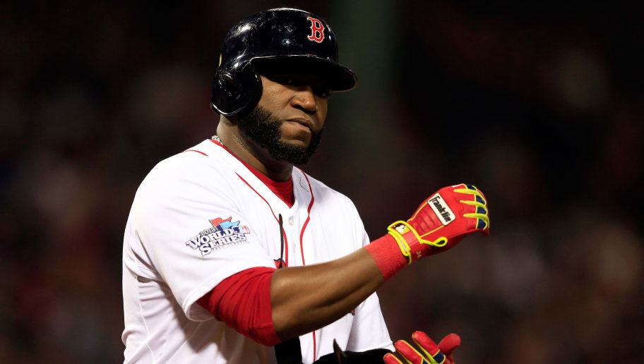 BOSTON, MA - OCTOBER 30: David Ortiz #34 of the Boston Red Sox looks on against the St. Louis Cardinals during Game Six of the 2013 World Series at Fenway Park on October 30, 2013 in Boston, Massachusetts.  (Photo by Jamie Squire/Getty Images)