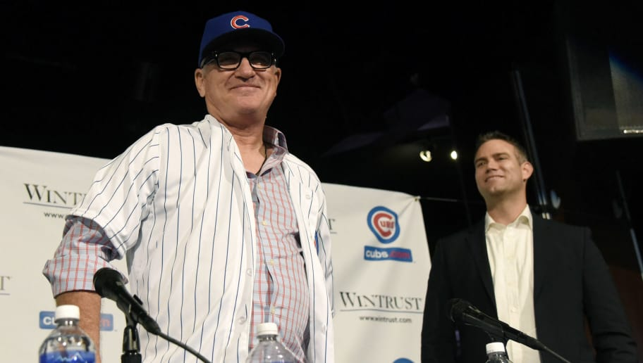CHICAGO, IL - NOVEMBER 03:  Joe Maddon (L) is introduced as the Chicago Cubs new manager with Cubs President Theo Epstein (R) during a press conference on November 3, 2014 in Chicago, Illinois.  (Photo by David Banks/Getty Images)