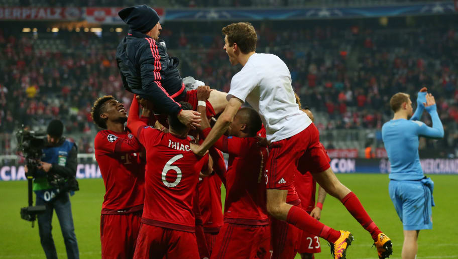 MUNICH, GERMANY - MARCH 16:  Franck Ribery of Bayern Muenchen is lifted by his team mates to celebrate their 4-2 win in the UEFA Champions League round of 16, second Leg match between FC Bayern Muenchen and Juventus at the Allianz Arena on March 16, 2016 in Munich, Germany.  (Photo by Alexander Hassenstein/Bongarts/Getty Images)