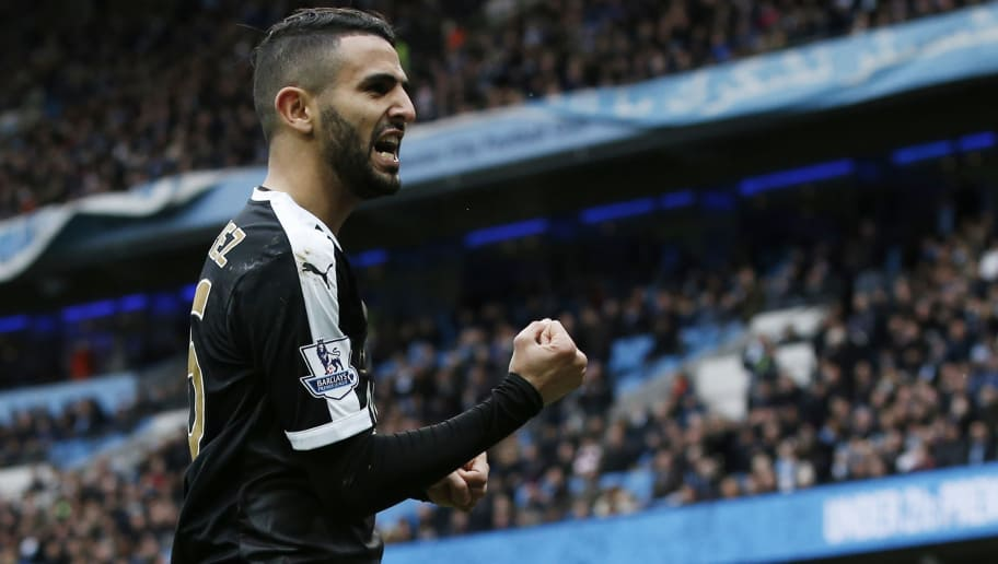 Leicester City's Algerian midfielder Riyad Mahrez celebrates  after scoring his team's second goal during the English Premier League football match between Manchester City and Leicester City at the Etihad Stadium in Manchester, north west England, on February 6, 2016.  / AFP / ADRIAN DENNIS / RESTRICTED TO EDITORIAL USE. No use with unauthorized audio, video, data, fixture lists, club/league logos or 'live' services. Online in-match use limited to 75 images, no video emulation. No use in betting, games or single club/league/player publications.  /         (Photo credit should read ADRIAN DENNIS/AFP/Getty Images)
