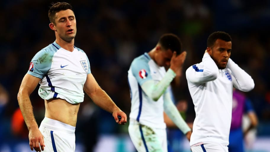 NICE, FRANCE - JUNE 27:  Gary Cahill of England shows his dejection after his team's 1-2 defeat in the UEFA EURO 2016 round of 16 match between England and Iceland at Allianz Riviera Stadium on June 27, 2016 in Nice, France.  (Photo by Lars Baron/Getty Images)