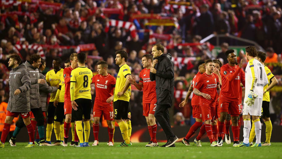 LIVERPOOL, ENGLAND - APRIL 14:  Borussia Dortmund manager Thomas Tuchel shows his dejection as he walks off the pitch after his teams defeat during the UEFA Europa League quarter final second leg match between Liverpool and Borussia Dortmund at Anfield on April 14, 2016 in Liverpool, United Kingdom.  (Photo by Clive Brunskill/Getty Images)