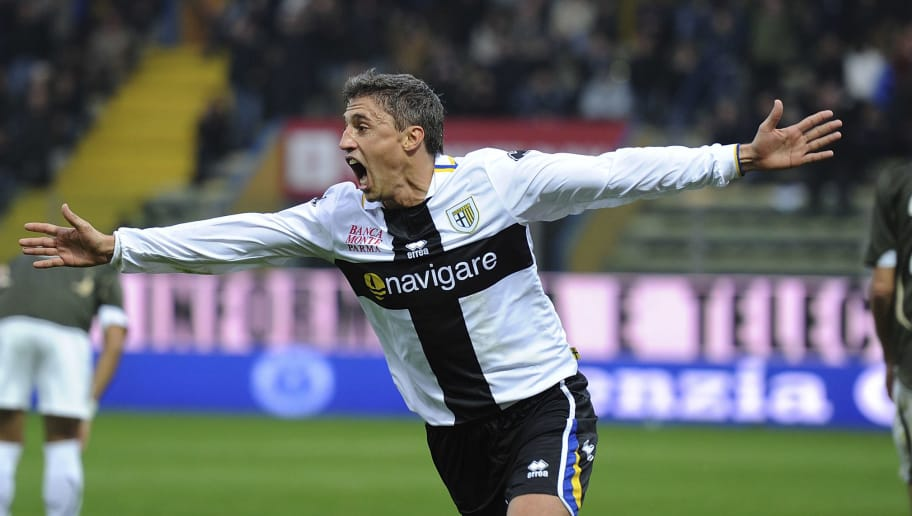 PARMA, ITALY - NOVEMBER 21: Hernan Crespo of Parma celebrates after scoring his opening goal during the Serie A match between Parma and Lazio at Stadio Ennio Tardini on November 21, 2010 in Parma, Italy. (Photo by Dino Panato/Getty Images)
