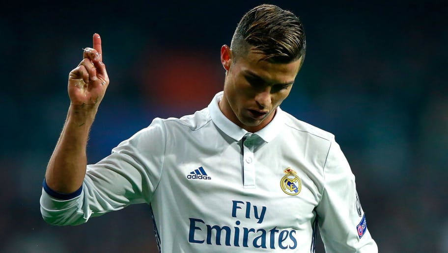 MADRID, SPAIN - DECEMBER 07: Cristiano Ronaldo of Real Madrid gestures during the UEFA Champions League Group F match between Real Madrid CF and Borussia Dortmund at the Bernabeu on December 7, 2016 in Madrid, Spain.  (Photo by Gonzalo Arroyo Moreno/Getty Images)